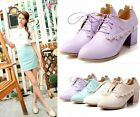 Womens Sweet Lace Up Block Mid Heel Brogue Court Shoes 4 Colors Plus Size