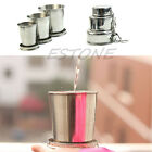 60 140 250ml Stainless Steel Portable Folding Telescopic Collapsible Outdoor Cup