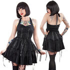 Hearts & Roses Black Laces Dress Punk Lacing Goth Rock Tulle