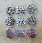 5 - Novelty Buttons - different Styles - Metal - silver Colour - Knitting/Sewing