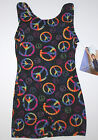Nwt New Jacques Moret Biketard Unitard Tank Colorful Peace Sign Cute Nice Girl
