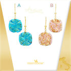 VENETIAURUM Italy 24K & Teal Blue or Pink Murano Glass Dangle Earrings 1 3/4""