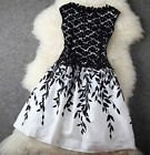Ladies Summer Floral Dress Womens Black White Mini Short Sleeve Tunic Skater