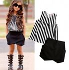 Boutique Toddler Kids Girls Stripe Tops Shirt Shorts Summer Outfits Set Clothes