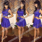 New Sexy Women Purple Sleeveless Floral Lace Cocktail Evening Party  Dress Go