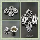 Vintage Style Silver Tone Alloy Hollow Flower Cap Beads Charms Jewelry
