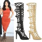 WOMENS LADIES KNEE HIGH HEELS CELEB PLATFORMS STILETTOS BOOTS CUT OUT STRAP SIZE