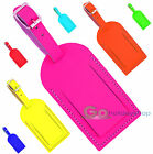 Neon Quality Leather Luggage Label Address ID Contact Details Suitcase Bag Tag