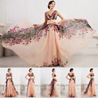 Flowers 50s Long Bridesmaid Evening Formal Ball Gown Prom Party Dress Plus Size+