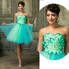 Womens Short Beaded Formal Evening Party Ball Gown Prom Bridesmaid Wedding Dress