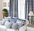 2x Custom Made French Country Provincial Check Navy Blue Window Curtain Panel