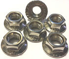 M10 x 1.25 A2 Stainless Flange Sprocket Nuts (packs of 6).  Multi Listing