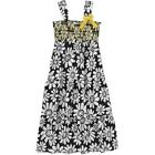 Faded Glory Girls' Smocked Challis Maxi dress 100% rayon black everyday