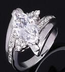 Size 6,7,8,9 White Sapphire Halo 18K Gold Filled Womans Wedding Engagement Rings