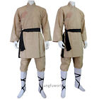 Beige Cotton Shaolin Monk Robe Martial arts Uniform Tai chi Kung fu Wushu Suit