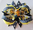 Minion Boutique Hair Bow On Barrette Clip - Navy & Yellow, Despicable Me