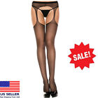Sheer Nylon Suspender Faux Garter Belt Crotchless Pantyhose Tights 4 Colors M-XL