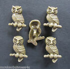 5 - Novelty Buttons - Owl on Branch - Metal - Shank Buttons Knitting/Sewing