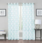 Luxurious Geo Grommet Crushed Sheer Voile Curtains - Assorted Colors