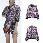 Casual Floral Printed Fashion Long Sleeves Slim Zipper Short Coat Outerwear FKS