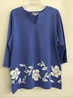 "M.Mac's ""Retro Hibiscus"" Slot Neck 3/4 Length Sleeve Tunic in Denim w White - SM"