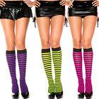 Punk Goth Opaque Striped Knee High Socks Stockings Halloween Witch Costume Rave