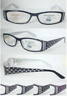 L319 Fashion Reading Glasses/Diamantes/Laser Snake Skin Pattern Arm/Spring Hinge