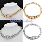 Women Simple Metal Curb Rhinestone Crystal Bead Choker Chunky Chain Necklace HOT