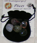 BIRTHSTONE CRYSTALS PACK TUMBLESTONE SET POUCH FIVE ZODIAC STONES GREAT GIFT