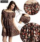 Fashion Spring/Summer Calico Low Round-neck Women's Floral Skirt Short Sleeve