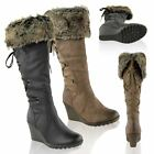 WOMENS LADIES MID WEDGE HIGH HEEL FUR LINED WARM WINTER KNEE CALF ZIP BOOTS SIZE