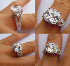 Solid 925Sterling Silver CZ Stone Wedding Engagement Ring