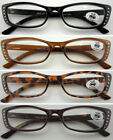L198 Plastic Frame Diamante Fashion Reading Glasses +150+200+250+300+350+400