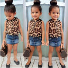 2Pcs Kid Baby Girl Sleeveless Leopard Tops + Denim Mini Dress Suit Outfit 2-8Y