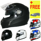 LEOPARD Solid Matt Black Full Face Motorbike Crash Helmet Scooter Motorbike DVS