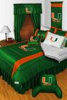 Miami Hurricanes Comforter Sham Pillowcase Valance Twin Full Queen King Size