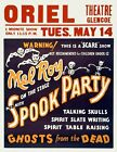 Poster Mel Roy on the stage mid-nite, spook party talking skulls, spirit slate w