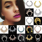 Charms Fake Septum Clicker Crystal Nose Ring Non Piercing Hanger Clip On Jewelry