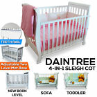 New Wooden 4-in-1 Sleigh Baby Cot Crib Toddler Rail Bed with Drawer & Mattress