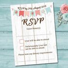 Wedding Day RSVP Reply Cards & Envelopes - White Wood Barn Vintage Bunting