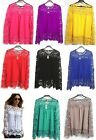 1x Fashion Womens Tops Lace Long Sleeve Chiffon Blouses Shirt Crochet Camisa FKS