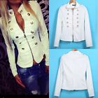 1x Womens Double-breasted Jacket Tops Long Sleeve Slim Coat Casual Jacket FKS