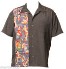 Steady PIN-UP PANEL Retro Rockabilly Bowling Shirt - Charcoal - US Size Large