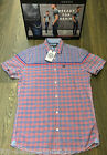 MENS DUCK & COVER SMART S/S CHECK 'GIBSON' SHIRT IN VERMILLION (RED) SIZES M-2XL