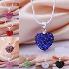 Silver plated Fashion Women Crystal Heart Shape Chain Pendant Necklace New