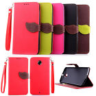 Dual Color Leaf Magnetic Wallet Card Holder Leather Flip Case Cover For Google
