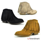 Western Fringe Faux Suede Moccasin Pointy Toe Stacked Heel Ankle Bootie Jervis