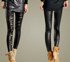New Women Sexy Lace Faux Leather Gothic Punk Stretch Pants Ankle Long Trousers