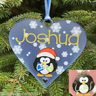 Personalised Cute Penguin - Christmas Tree Heart Bauble Decoration gift keepsake