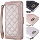 Samsung Galaxy S6 Wallet Wristlet Quilted PU Leather Card Holder Purse +Strap